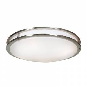 "Access Lighting 20467LEDD Solero 24"" Wide Integrated LED Flush Mount Bowl Ceiling Fixture - 3000K Brushed Steel / Acrylic Indoor Lighting Ceiling"