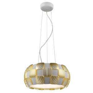"""Access Lighting 50906 5 Light 18"""" Wide Drum Pendant from the Layers Collection White / Gold Indoor Lighting Pendants"""