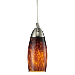 "Elk Lighting 110-1-LED Milan Single Light 3"" Wide Mini Pendant with Glass Elliptical Shade with LED Bulb Included Espresso Indoor Lighting Pendants  - Espresso"