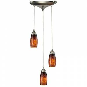 """Elk Lighting 110-3 Milan 3 Light 10"""" Wide Linear Pendant with Triangle Canopy and Hand Blown Glass Shades Espresso Indoor Lighting Pendants Multi  - Espresso"""