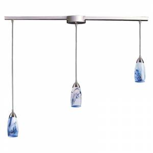 """Elk Lighting 110-3L Milan 3 Light 36"""" Wide Linear Pendant with Rectangle Canopy and Hand Blown Glass Shades Mountain Indoor Lighting Pendants Linear  - Mountain"""