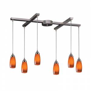 """Elk Lighting 110-6 Milan 6 Light 33"""" Wide Linear Pendant with H-Bar Canopy and Hand Blown Glass Shades Espresso Indoor Lighting Pendants Linear  - Espresso"""