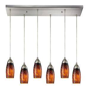 "Elk Lighting 110-6RC Milan 6 Light 30"" Wide Multi Light Pendant with Rectangle Canopy and Hand Blown Glass Shades Espresso Indoor Lighting Pendants  - Espresso"