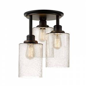 Globe Electric 65904 Annecy 3 Light Semi Flush Ceiling Light with Seeded Glass Shades Oil Rubbed Bronze Indoor Lighting Ceiling Fixtures Semi-Flush  - Oil Rubbed Bronze