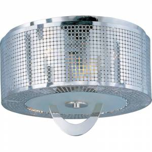 """Maxim 22300 Mirage 16"""" Wide 3 Light Ceiling Light Polished Nickel / Stainless Steel Shade Indoor Lighting Ceiling Fixtures Flush Mount"""