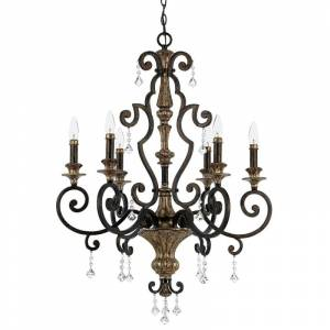 """Quoizel MQ5006 Marquette 6 Light 28"""" Wide Candle Style Chandelier with Crystal Accents Heirloom Indoor Lighting Chandeliers  - Heirloom"""
