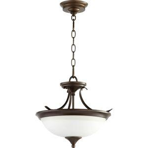"""Quorum International 214-14 Flora 2 Light 14"""" Wide Pendant Oiled Bronze Indoor Lighting Pendants  - Oiled Bronze"""