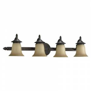 """Quorum International 515-4 Traditional Classic Four Light 32.5"""" Wide Bathroom Fixture from the Coventry Collection Toasted Sienna Indoor Lighting  - Toasted Sienna"""