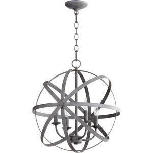 """Quorum International 6009-4 Celeste 4 Light 19"""" Wide Taper Candle Chandelier Zinc Indoor Lighting Chandeliers  - Zinc"""