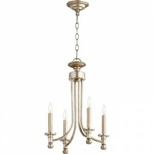 "Quorum International 6022-4 Rossington 4 Light 14"" Wide Taper Candle Chandelier Aged Silver Leaf Indoor Lighting Chandeliers  - Aged Silver Leaf"