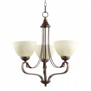 """Quorum International 6031-3 Lariat 3 Light 21"""" Wide Single Tier Chandelier with Glass Shades Oiled Bronze Indoor Lighting Chandeliers  - Oiled Bronze"""