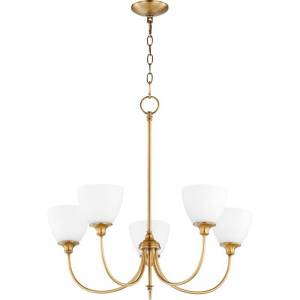 "Quorum International 6109-5 Celeste 5 Light 27"" Wide Chandelier Aged Brass Indoor Lighting Chandeliers  - Aged Brass"