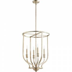 "Quorum International 6711-4 Richmond 4 Light 18"" Wide Taper Candle Chandelier Aged Silver Leaf Indoor Lighting Chandeliers"