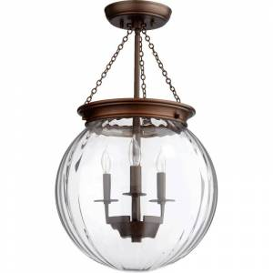 "Quorum International 6920-3 23"" Height 3 Light Globe Pendant with Clear Shade Oiled Bronze / Clear Indoor Lighting Pendants  - Oiled Bronze,Clear"