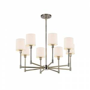 Sonneman 2476 Embassy 8 Light LED Chandelier with Off-White Cotton Shades Polished Nickel Indoor Lighting Chandeliers
