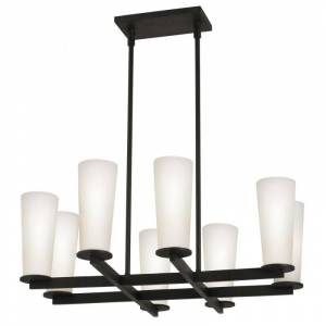 Sonneman 4928 High 8 Light Chandelier with Etched Cased Glass Shades Black Bronze Indoor Lighting Chandeliers