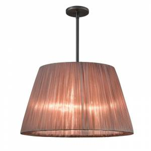 Sonneman 6099 Organza Wrap 3 Light Tapered Drum Pendant Black Brass with Bronze Shade Indoor Lighting Pendants Rail