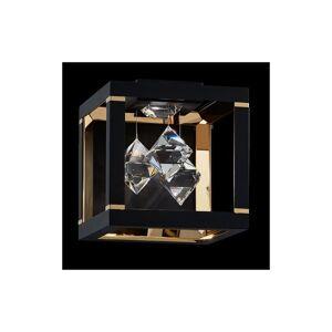 "Swarovski SQB110N-S Fyra Single Light 8"" Tall LED Wall Sconce with Swarovski Crystals Black Indoor Lighting Wall Sconces  - Black"