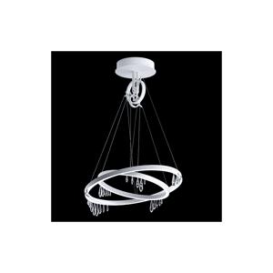 "Swarovski SCK110N Solarius 27-1/2"" Wide Integrated 3000K LED Adjustable Multi Ring Pendant with Clear Swarovski Crystals White Indoor Lighting  - White"