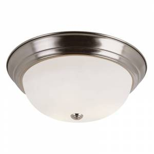 "Trans Globe Lighting 13717 2 Light 11"" Flush Mount Round Ceiling Fixture with Frosted Shade Brushed Nickel Indoor Lighting Ceiling Fixtures Flush"