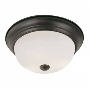 """Trans Globe Lighting 13717 2 Light 11"""" Flush Mount Round Ceiling Fixture with Frosted Shade Rubbed Oil Bronze Indoor Lighting Ceiling Fixtures Flush"""