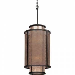 "Troy Lighting F3103 Copper Mountain 8 Light 32"" Pendant with Silver Mica Shade Old Silver Indoor Lighting Pendants  - Old Silver"