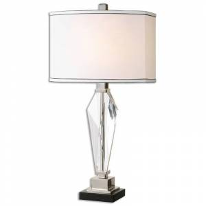 Uttermost 26601-1 Altavilla 1 Light Table Lamp Cut Crystal with Polished Nickel Lamps Table Lamps