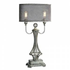 """Uttermost 27008-1 Pontoise 2 Light 33"""" Tall Table Lamp with Pewter Fabric Shade Aged Ivory Lamps Table Lamps Accent Lamps"""