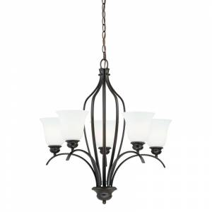 Vaxcel Lighting H0085 Darby 5 Light Single Tier Chandelier with Etched Glass Shades - 26 Inches Wide New Bronze Indoor Lighting Chandeliers  - New Bronze
