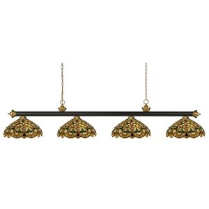 "Z-Lite 200-4-C14 Riviera 4 Light 80"" Wide Billiard Multi Light Pendant with Multi Colored Tiffany Glass Shade Bronze / Satin Gold Indoor Lighting  - Bronze,Satin Gold"