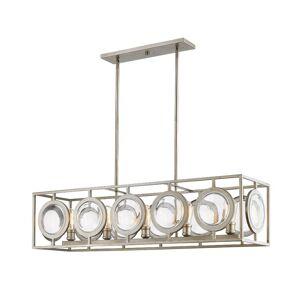"""Z-Lite 448-44 Port 5 Light 45-3/4"""" Wide Linear Chandelier Antique Silver Indoor Lighting Chandeliers"""