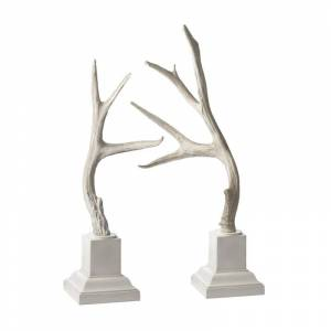 Elk Home 225019 Weathered Resin Buck Antlers On White Base - Set Of 2 Cream Home Decor Accents Statues & Figurines  - Cream