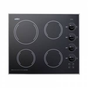 Summit CR425 24 Inch Wide 4 Burner Electric Cooktop Black Cooktops Cooktop Electric  - Black