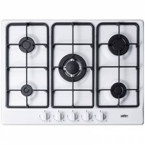 Summit GC527 27 Inch Wide Built-In Gas Cooktop with Sealed Sabaf Burners and Dual Flame Burner White Cooktops Cooktop Gas  - White