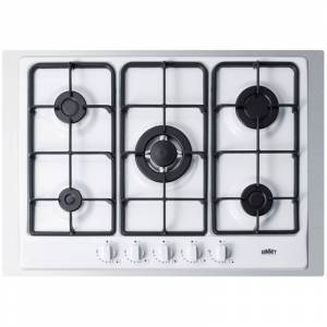 Summit GC527TK 30 Inch Wide Built-In Gas Cooktop with Sealed Sabaf Burners Dual Flame Burner and Trim White Cooktops Cooktop Gas  - White