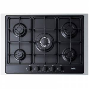 Summit GC527TK 30 Inch Wide Built-In Gas Cooktop with Sealed Sabaf Burners Dual Flame Burner and Trim Black Cooktops Cooktop Gas  - Black