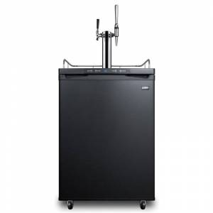Summit SBC635M7CMTWIN 24 Inch Wide 5.6 Cu. Ft. Capacity Free Standing Coffee Kegerator with Dual Taps for Flat Cold Brew and Nitro Infusion Black  - Black