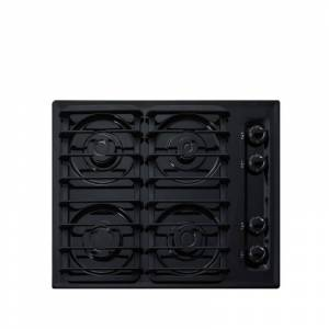 Summit TTL033S 24 Inch Wide 4 Burner Gas Cooktop Black Cooktops Cooktop Gas  - Black