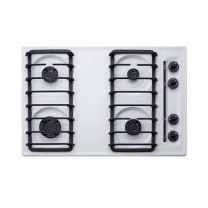Summit WTL053S 30 Inch Wide 4 Burner Gas Cooktop White Cooktops Cooktop Gas  - White