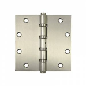 "Deltana DSB55B 5"" x 5"" Solid Brass Square Corner Ball Bearing Mortise Hinge - Pair Satin Nickel Door Hinge Ball Bearing 5 x 5"