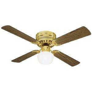 "Design House 156588 Millbridge 42 "" Hugger Ceiling Fan with Light Kit and Revers Polished Brass Fans Ceiling Fans Indoor Ceiling Fans"