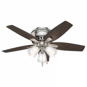 """Hunter Newsome 42 Low Profile 3 Light Newsom 42"""" 5 Blade Ceiling Fan with Light Brushed Nickel Fans Ceiling Fans Indoor Ceiling Fans"""