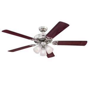 "Westinghouse 7233800 Vintage 52"" 5 Blade Indoor LED Ceiling Fan Brushed Nickel Fans Ceiling Fans Indoor Ceiling Fans  - Brushed Nickel"