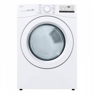 LG DLE3400 27 Inch Wide 7.4 Cu Ft. Energy Star Rated Electric Dryer White Laundry Appliances Dryers Electric Dryers