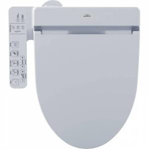 TOTO SW2034T20 Washlet+ C100 Elongated Soft Close Bidet Seat with Heated Seat and Warm Air Dryer Cotton Accessory Bidet Seats Elongated