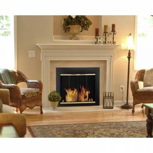 Pleasant Hearth AR-1021 Arrington Fireplace Screen and Bi-Fold Track-Free Glass Black and Gold Powder Coated Home Decor Accents Fire Screens