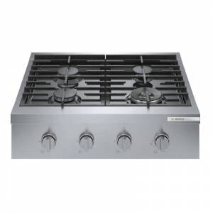 Bosch RGM80UC Hob 30 Inch Wide 4 Burner Gas Cooktop Stainless Steel Cooking Appliances Cooktops Gas Rangetops