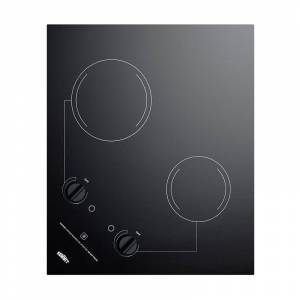 Summit CR2B121 22 Inch Wide Built-In Electric Cooktop with Residual Heat Indicator Black Cooktops Cooktop Electric  - Black