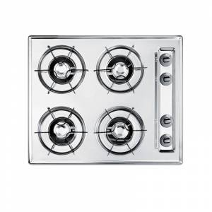 Summit NL033 24 Inch Wide 4 Burner Gas Cooktop Chrome Cooktops Cooktop Gas  - Chrome