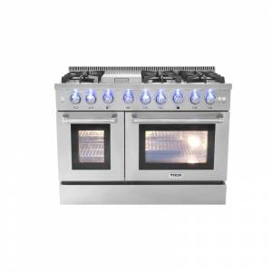 Thor Kitchen HRG4808U 48 Inch Wide 6.7 Cu. Ft. Capacity Freestanding Gas Range with Griddle and Automatic Re-Ignition System Stainless Steel Ranges  - Stainless Steel